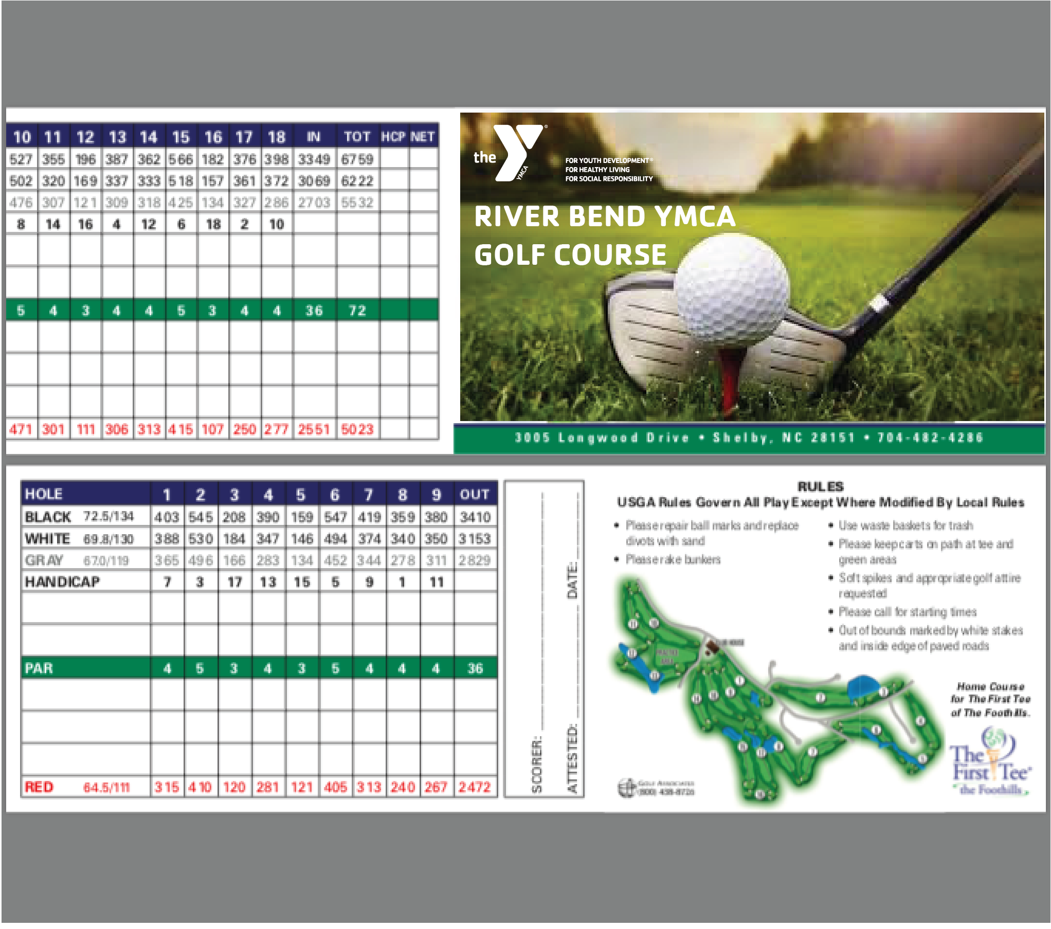 Scorecard - River Bend YMCA Golf Course